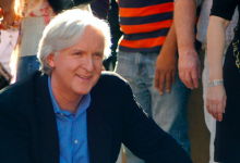 Photo of James Cameron campaigning for a transition to a meatless world in 20 years