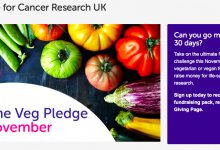 Photo of Cancer Research UK organising sponsored Go Veg for the month of November