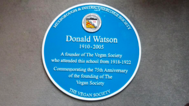 Photo of Blue Plaque honours Donald Watson, founder of the Vegan Society