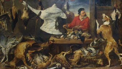 Photo of 17th Century painting of dead animals removed from Cambridge University dining hall